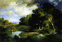 Oil painting Thomas Moran - A Pastoral Landscape with cows by pond no framed art