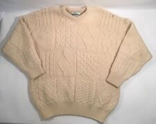 ARAN CRAFTS Irish Fisherman Sweater Men's XL 100% Wool Cream Cable Knit