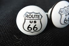 Route 66 Sign Ceramic Drawer Pull Knob Dresser Cabinet ~ NOSTAGLIC CLASSIC New