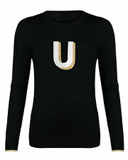 Oliver Bonas Women Alphabet Embroidered Initial Black Knitted Jumper