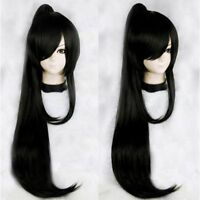 New anime black straight long hair full wigs cosplay costume party wig+Ponytail