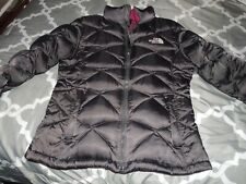 The North Face Puffer Coat Girls XL Size 18 Black Gray Logo Nice