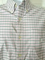 Chaps Ralph Lauren Men's Sz L Plaid Stretch Oxford S/S Button Down Shirt