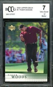 2001 Upper Deck #1 Tiger Woods Rookie Card BGS BCCG 7 Very Good+