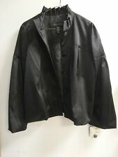 NWT Apostrophe Black Satin Pleated Details Long Sleeves Lined Jacket MEDIUM