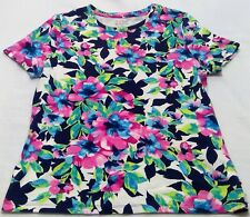 Studio works women's medium t shirt blue floral flower summer work career
