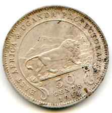 East Africa 50 Cents 1914-H Obv Damage  lotfeb4643