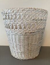 Vintage Wicker Cottage Waste Paper Basket Shabby Chic White Trash Can