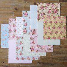 "12 sheets 8x8"" scrapbooking paper shabby chic vintage rose polka dot - 120gsm"