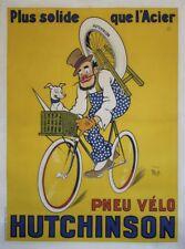 """""""PNEU VELO HUTCHINSON"""" Affiche originale entoilée Litho MICH 1929 122x162cm"""