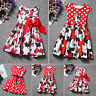 Baby Girl Kids Minnie Mouse Cartoon Skater Dress Toddler Party Bow Dress Costume