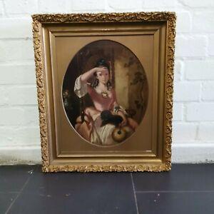 Regency Oil on Canvas Lady & Cat Portrait