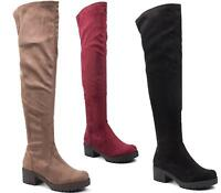 WOMENS LADIES LOW HEEL FLAT THIGH HIGH OVER THE KNEE STRETCH RIDING BOOTS 3-8