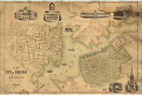Map of Norfolk and Portsmouth, VA; Antique Map by Rollin & Kelley, 1851