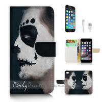 ( For iPhone 7 ) Wallet Case Cover P2056 Horror Face
