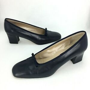 Sesto Meucci Shoes Womens Sz 8M US Blue Leather Block Heels Made in Italy