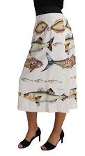 DOLCE & GABBANA Fish Print Cady Skirt Crystal Buttons Midi IT42/US8/M RRP $1900