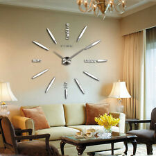 Modern DIY Large Wall Clock Kit 3d Mirror Surface Sticker Home Office Room Decor #5-silver