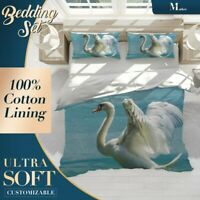 Swan Lake Animals Birds Blue Doona Cover Sets with Zipper And Pillowcase