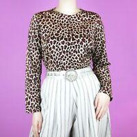 VINTAGE Brown Leopard Beige Red Pattern Animal Cream Glitter Crop 90s Blouse Top
