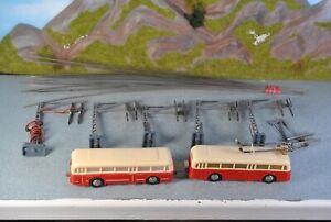 Eheim H0 Bus mit Beiwagen, Oberleitungsmasten & Drähten 18-tlg.