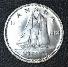 OLD CANADIAN COIN 1954 - 10 CENTS - .800 SILVER - Elizabeth II - Nice Coin