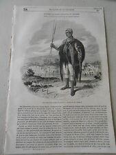 1847 Costume d'un soldat Abyssinien Gravure Article de presse