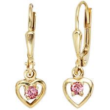 Kinder Boutons Herz 333 Gold Gelbgold 2 Glassteine rosa rosé Ohrringe Ohrhänger