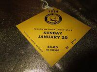 Dean Martin Tucson Open 1974 PGA Golf Tournament Arizona Ticket Stub Badge