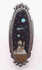 Navajo Handmade Inlay Night Sky Ring Set In Sterling Silver - Size 9 - A.Largo