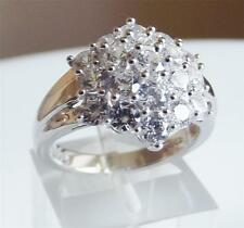 DIAMONIQUE 1.9 CARAT CLUSTER STERLING SILVER RING size: UK- L US- 6.0 NEW QVC