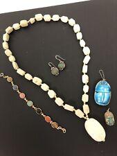 Lot SCARAB Jewelry Soapstone Necklace 14K GF Bracelet Pendants Sterling Earring