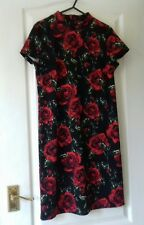 Tu Ladies Dress 10 Black Red Green Floral Tunic Goth steam punk  roses BNWT