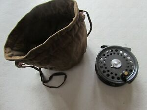 "A1 vintage hardy alnwick st george 2 screw  trout fly fishing reel 3"" + pouch"