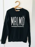 TOPMAN Size S Black Crew Neck Long Sleeve Pull Over Sweater Made In Turkey