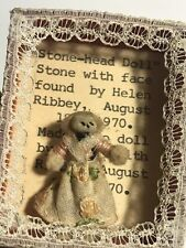 Unusual Vintage Stone-head Doll 1970 Folk Art Trinket Gift 512