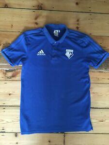 ADIDAS Watford Football Club Mens Blue Retro Polo Shirt - SIZE MEDIUM