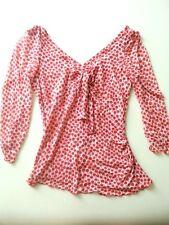 NWOT DVF Diane von Furstenberg polka dot silk mesh stretch blouse long P 0 XS