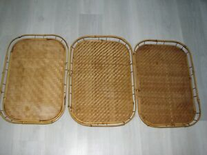 Set of 3 Vintage Bamboo Rattan Serving Trays Woven Tray Boho Bohemian TV Trays