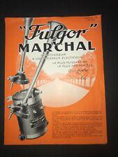 Rare Document d'époque : PUBLICITE AVERTISSEUR FULGOR MARCHAL