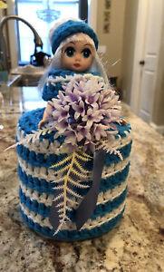 Vintage Hand Crocheted Turquoise White Doll Toilet Paper Holder MINT VTG