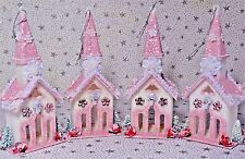 Shabby Christmas Chic Ornaments Decoration Pink White Chapel Church Lot 4 New #