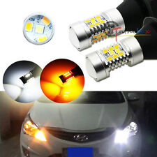 Switchback White/Amber 1156 S25 P21W LED Bulbs For Front Turn Signal DRL Lights
