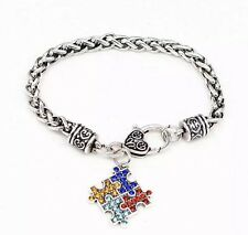 NEW Silver Plated Autism Puzzle Crystal Bracelet - Perfect Gift