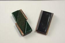 Pair of vintage green Bakelite dress clips rolled gold Art Deco jewellery