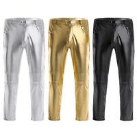 Mens PU Leather Clubwear Shiny Metallic Pants Straight Leg Trousers Tights M-4XL