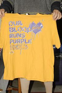 Los Angeles Lakers Blood is purple 2XL gold t shirt Kobe Bryant era Rare oop SGA
