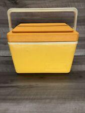 New listing Vintage Thermos Sunpacker 11 Quart Cooler Yellow Orange White Model 7713 Retro