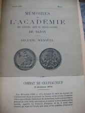 1924 Mémoires de l'Académie des sciences Dijon Combat de Chateauneuf Bourgogne
