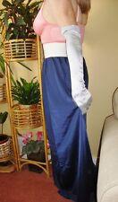 Navy Blue Silky & Lacy Long Formal Length Half Slip Petticoat M-L